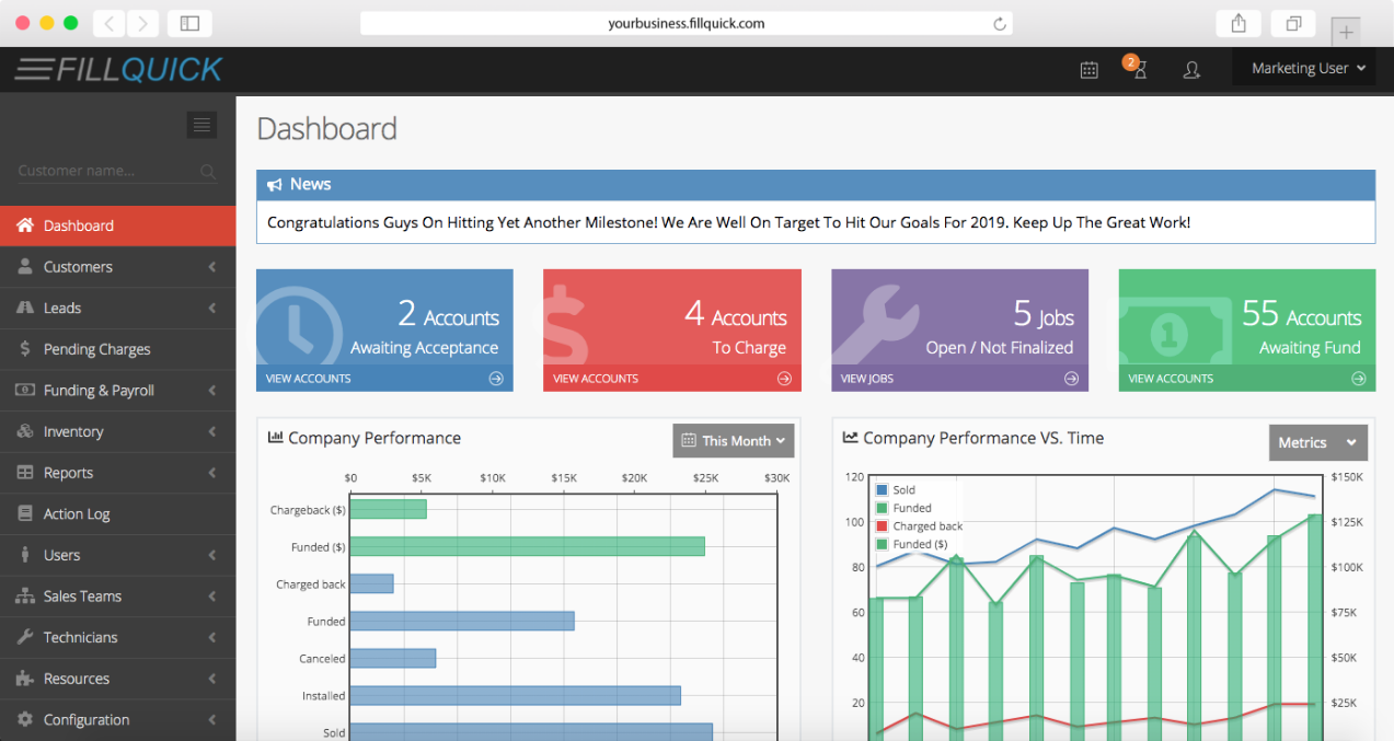 FillQuick Dashboard